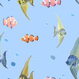 Fishs in water with bubbles, seamless background. Royalty Free Stock Photography