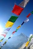 Fishtail on a beautiful bluebird day. Annapurna base camp prey flags nepal Stock Image