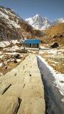 Fishtail bergbasläger Nepal arkivfoton