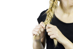 Fishtail braid hairstyle Royalty Free Stock Photography