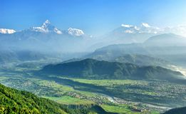 The fishtail mountain in the early morning Royalty Free Stock Image