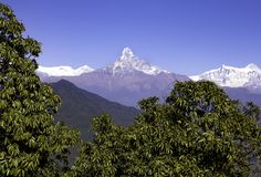 FISHTAIL MOUNTAIN  VIEW FROM AUSTRALIAN BASE CAMP royalty free stock photography