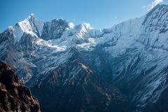 Fishtail Mountain Range From Annapurna Base Camp Stock Images