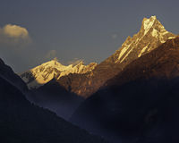 Fishtail Peak. Macchapuchre Mountain in the morning stock images