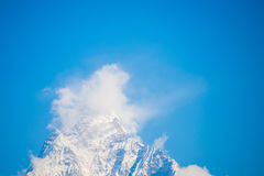 Fishtail symbol of Machhapuchhre mountain Nepal Stock Photo
