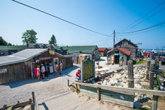 Fishtown, Leland. Historic Fishtown, an old fishing village in Leland, Michigan. Whilst still an active fishing centre there are also many shops and boutiques Royalty Free Stock Images