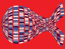Fishy shape. Against red background, abstract vector art illustration Royalty Free Stock Image