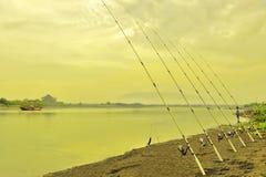 Fisihing nella laguna Fotografia Stock Libera da Diritti