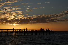 Fising Pier Sunset horizontal Royalty Free Stock Photos