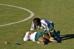 Fisioterapeuta de las personas de fútbol de Bafana Bafana Fotografía de archivo