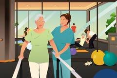 Fisioterapeuta Working em um paciente idoso ilustração royalty free