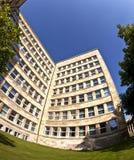 Fisk-öga bild av byggnaden för IG Farben eller den Poelzig byggnaden i Frankfurt - f.m. - strömförsörjning Royaltyfri Foto