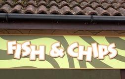 Fisk- & chiptecken arkivfoto