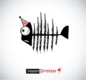Fisk för kort för lycklig födelsedag royaltyfri illustrationer