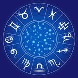 Fisk för två tecknad film Zodiacal cirkel Astrologisk kalender vektor stock illustrationer