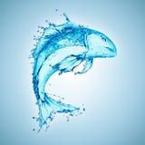 Fisk formad vattenfärgstänk royaltyfri foto
