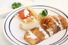 fisk grillad krydda källgrönsak Fotografering för Bildbyråer