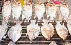 fisk grillat salt Arkivbilder