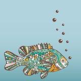 Fisk Hand-dragen fantasifisk med den etniska klottermodellen royaltyfri illustrationer