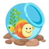 Fisk i en bunke royaltyfri illustrationer