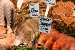 Fisk i matmarknad arkivbild