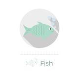 Fisk med bubblavektorillustrationen Stock Illustrationer