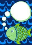 Fisk med kortet för tankebubblahälsning vektor illustrationer