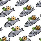 Fisk med modellen för mat och för kokkonst för citron den grekiska sömlösa royaltyfri illustrationer