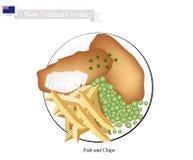 Fisk och chiper, en populär maträtt av Nya Zeeland stock illustrationer