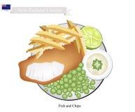 Fisk och chiper, en populär maträtt av Nya Zeeland royaltyfri illustrationer