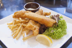 Fisk och chiper med tartarsås och grönsallat Arkivbilder