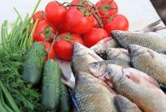 Fisk och grönsaker Fotografering för Bildbyråer