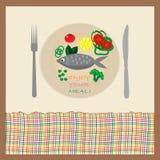 Fisk och grönsaker på plattan royaltyfri illustrationer