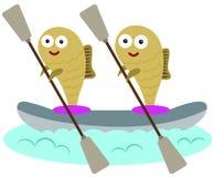 Fisk och kanot Arkivbilder
