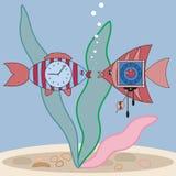 Fisk och klocka Arkivfoto