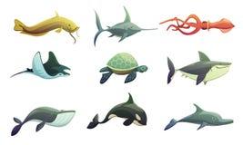 Fisk och Marine Animals Cartoon Set royaltyfri illustrationer