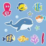 Fisk och Marine Animals Cartoon Set Tecknad filmbild stock illustrationer