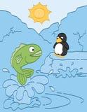 Fisk- och pingvinvänner Arkivbild