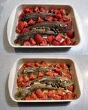 Fisk och tomater före och efter som lagar mat royaltyfria bilder
