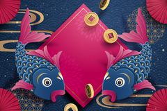 Fisk- och vårrimmat versparbeståndsdelar i pappers- konststil, kinesiskt hälsningkort för nytt år stock illustrationer