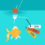 fisk på kroken Rabatter och försäljningar Royaltyfri Foto