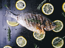 Fisk på tabellen Arkivbilder