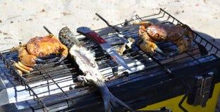 Fisk som lagas mat på gallret i naturen för lunch arkivbild