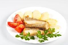 fisk stekt potatis Royaltyfri Fotografi