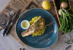 fisk stekt rice Royaltyfria Bilder
