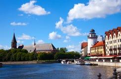 Fiska den byRybnaya derevnyaen och Kneiphof i Kaliningraden, Ryssland Royaltyfria Foton