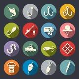 Fiska den plana symbolsuppsättningen stock illustrationer