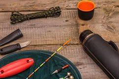 fiska förbereda sig Fiska hjälpmedel fiska floats netto Royaltyfri Fotografi