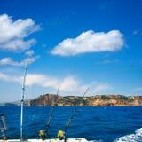Fiska fiska med drag i fartygstänger i medelhavs- Cabo Nao Cape Royaltyfri Fotografi