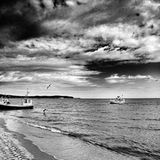 fiska för fartyg Konstnärlig blick i svartvitt Arkivbild